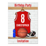 Red and White Basketball Jersey Birthday Party 13 Cm X 18 Cm Invitation Card