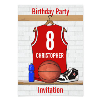 Red and White Basketball Jersey Birthday Party Card