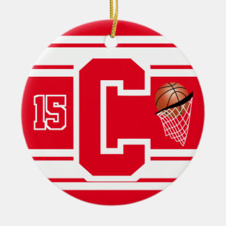 Red and White Basketball Letter C Christmas Ornament