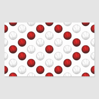 Red and White Basketball Pattern Rectangle Sticker