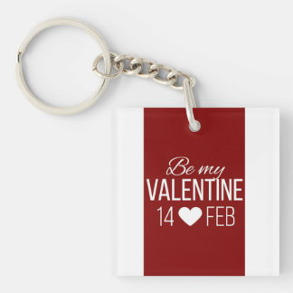 Red And White Be My Valentine Heart Key Ring