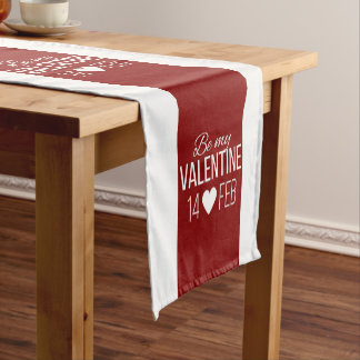 Red And White Be My Valentine Heart Short Table Runner