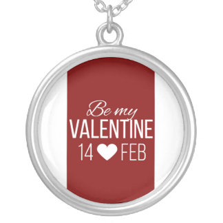 Red And White Be My Valentine Heart Silver Plated Necklace