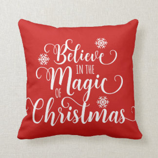 Red and White Believe Christmas Pillow