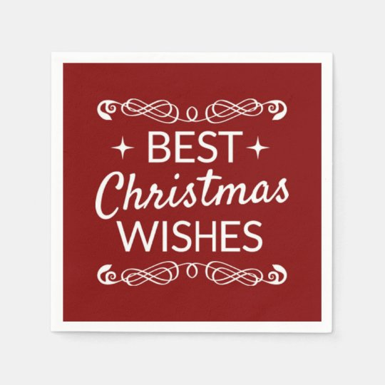 Red And White Best Christmas Wishes Paper Napkin