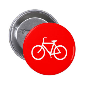 Red and White Bike Pinback Buttons