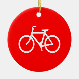 Red and White Bike Christmas Ornament