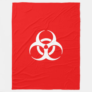 Red and White Biohazard Symbol Fleece Blanket
