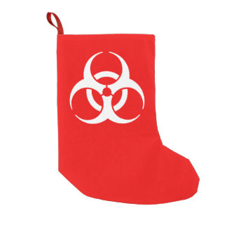 Red and White Biohazard Symbol Small Christmas Stocking