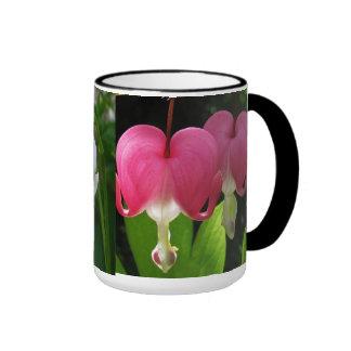 Red and White Bleeding Hearts Ringer Mug