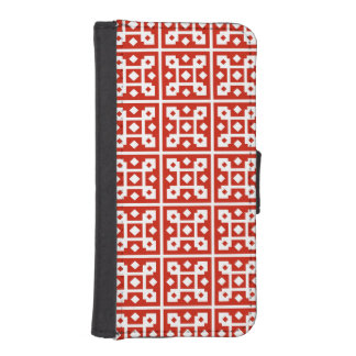 Red and White Block Tile Diamond Pattern