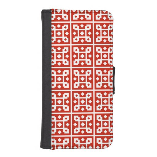 Red and White Block Tile Diamond Pattern iPhone 5 Wallet Cases
