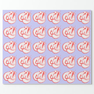 RED AND WHITE BOXING GLOVES MOTIF WRAPPING PAPER