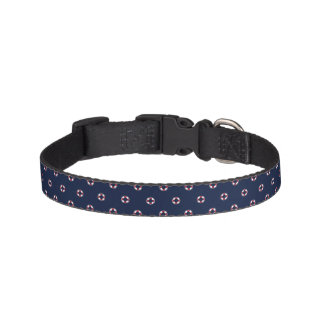 Red And White Buoy Pattern Pet Collar