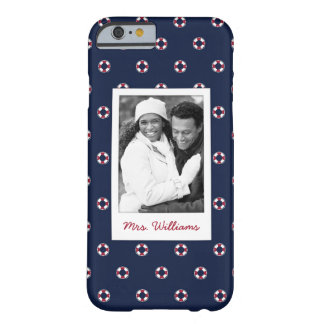 Red And White Buoy Pattern | Your Photo & Name Barely There iPhone 6 Case