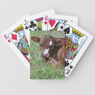 Red and white calf bicycle playing cards
