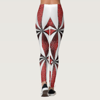 Red and White Candy Cane Abstract Leggings