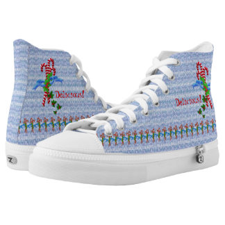 Red and White Candy Cane Christmas Printed Shoes