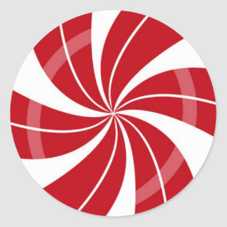 Red and white candy swirl, peppermint candy classic round sticker