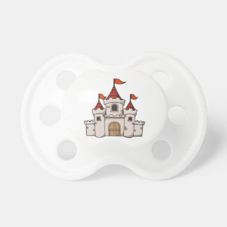 Red and White Cartoon Medieval Castle with Flags Dummy