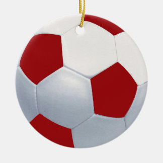Red and White Ceramic Soccer Ball Ornament