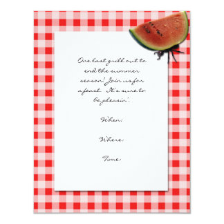 Red and White Checked and  Ant with Watermelon 11 Cm X 14 Cm Invitation Card