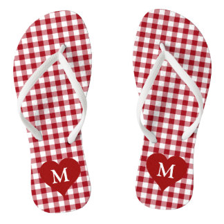 Red And White Checked Gingham Customize Monogram Flip Flops