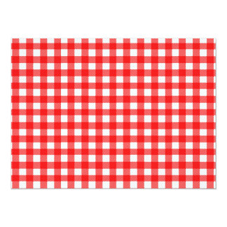 Red and White Checked Tablecloth Pattern 14 Cm X 19 Cm Invitation Card