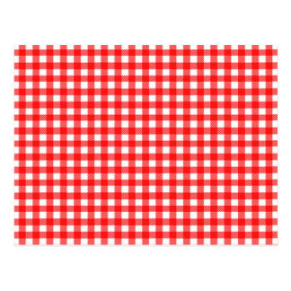 Red and White Checked Tablecloth Pattern Postcard