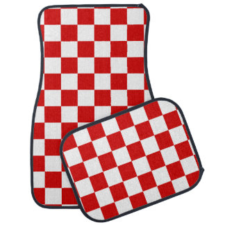 Red and White Checker Pattern Car Mat