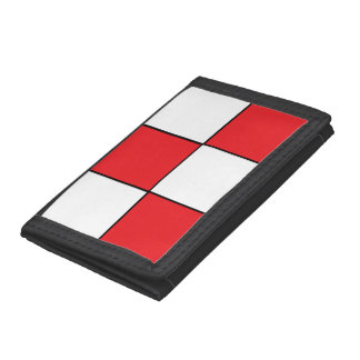 Red and White Checkered Tri-fold Wallet