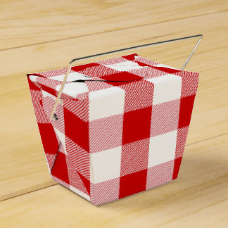 Red And White Checks Gingham Plaid Party Wedding Party Favour Box