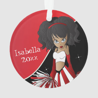 Red and White Cheerleader Girl Ornament