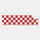 Red and White Chequered Pattern Country BBQ Bumper Sticker