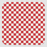 Red and White Chequered Pattern Country BBQ Colour Square Stickers