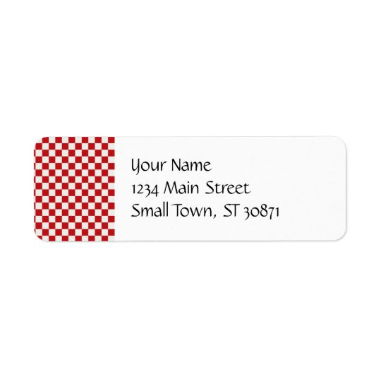 Red and White Chequered Pattern Country BBQ Return Address Label