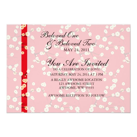 Red and White Cherry Blossoms Card