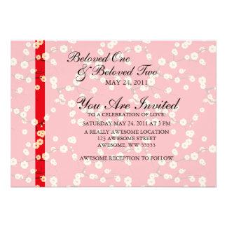 Red and White Cherry Blossoms Custom Invitation
