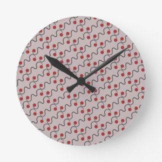 Red and White Cherry Pattern Clock