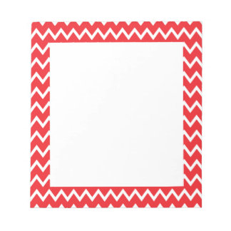 Red and White Chevron Pattern Notepad