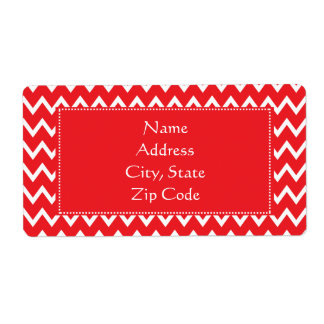 Red and White Chevron Pattern Shipping Label