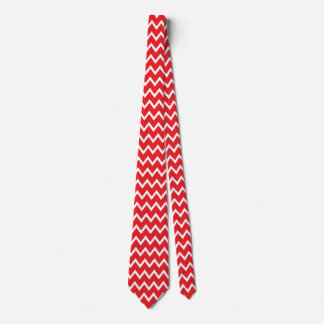 Red and White Chevron Pattern Tie