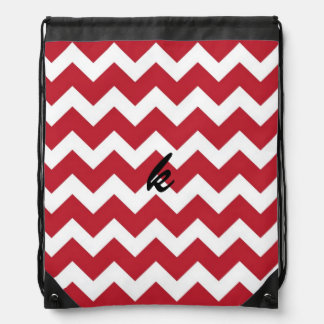 Red and White Chevron Stripe Drawstring Bag