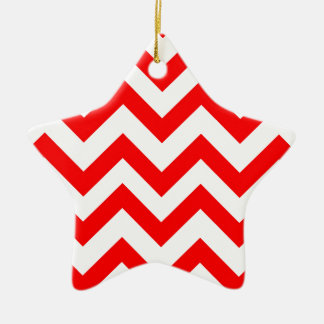 Red And White Chevrons Ceramic Star Decoration