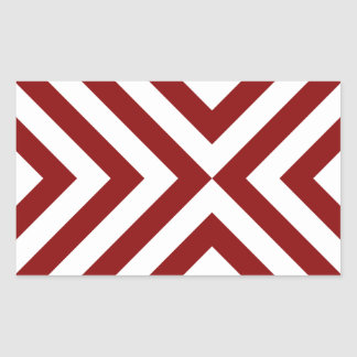 Red and White Chevrons Rectangular Stickers
