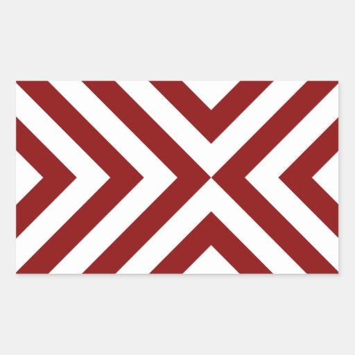Red and White Chevrons Rectangular Stickers