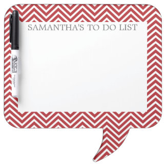Red and White Chevrons with Custom Name Dry Erase Board