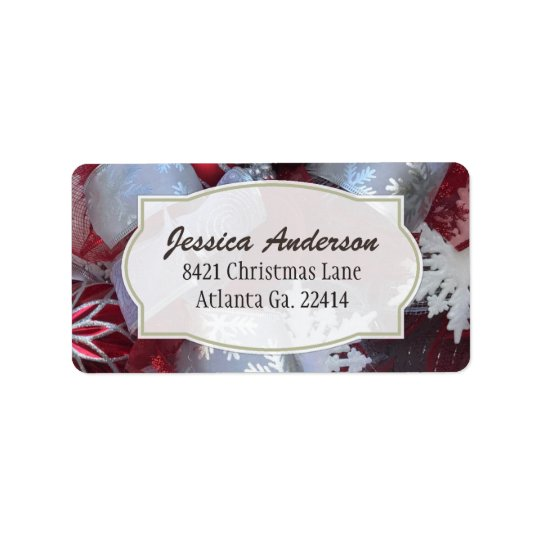 Red And White Christmas Address Stickers