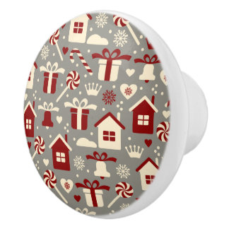 Red and White Christmas Candies and Gifts Pattern Ceramic Knob