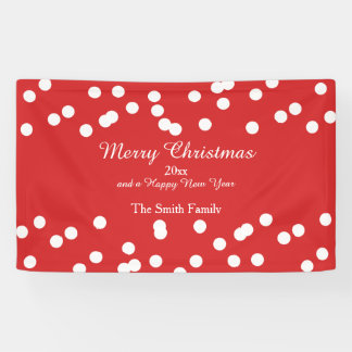Red and White Christmas Confetti Greetings Banner